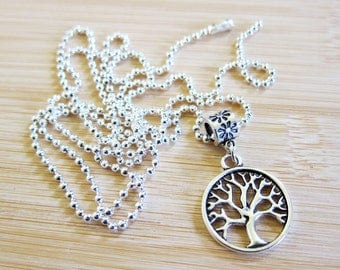 Tree of Life Pendant Necklace Silver Plated Ball Chain