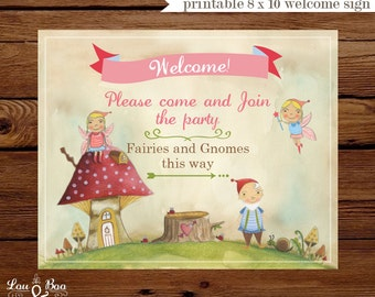 Printable WELCOME SIGN for Woodland Fairies and GNOMES - 8 x 10 Custom Welcome Sign fairy and elf