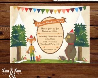 Printable Foxy and Bear holidays woodlands custom birthday party invitation, woodlands snow holiday christmas invitation