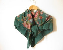 Vintage 80s floral dark green neck scarf - retro boho hippie hipster scarf - SMALL square neck wrap -gift for friend - gift for women