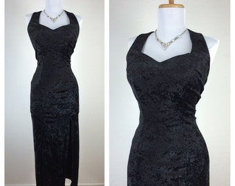 Vintage 1980s Black Crushed Velvet Dress Bodycon Hourglass Evening Gown Dress