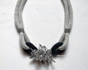 Statement necklace - Wool necklace - Minimalist jewelry - Sand beige, charcoal grey, hazelnut - Gift for woman.