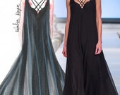 Rachel Gown Strapy Long Dress  Kaftan Pure Silk  size  small   Black
