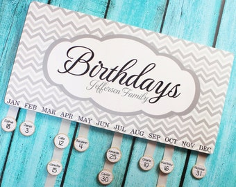 Personalized BIRTHDAY BOARD Never Forget a Birthday Again Family Birthdays Teacher Classroom Birthday Organizer Grandparent Gift BB0003
