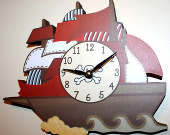 Pirate Ship Sail boat Wooden WALL CLOCK Girls Bedroom Baby Nursery Art Decor WC0052