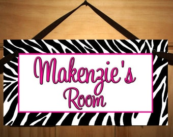 Girls Bedroom Hot Pink Zebra Print DOOR SIGN DS0321