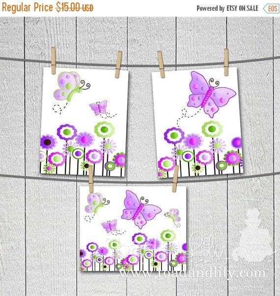 THANK YOU SALE Set of 3 Lilac Butterfly Girls Bedroom Nursery 8 x 10 Art Prints