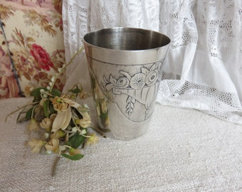 Vintage French Art Deco Silver Plated Beaker, 1920s 1930s Silver Plate Cup, Romantic Roses, Engraved 'Marie', Paris Apartment Chic Decor