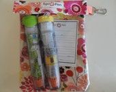 XL Epi Pen Case w/ See Through Front and Swivel Clip Holds 2 Allergy Pens  Medications First Aid  ID Card (6x8 Coral Floral Fabric)