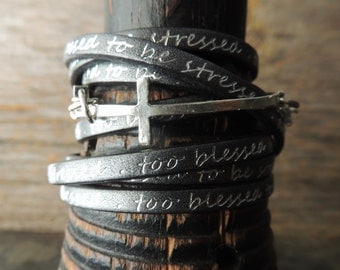 Leather Wrap Bracelet, Boho Jewelry, Silver Cross Link, Artisan Jewelry, Southwestern Style, Casual Jewelry, Jewelry For Him or