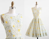 vintage 1950s dress / 50s dress / White Organdy Embroidered Flowers Dress
