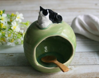 Salt Pig with Kitty Sculpture Salt Cellar in Crackle Green Glaze Ceramic Stoneware Salt Keeper Handcrafted Made in USA Ready to Ship
