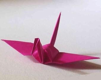 100 Small Origami Cranes Origami Paper Cranes Origami Crane - Made of 7.5cm 3 inches Japanese Paper - Dark Fuchsia