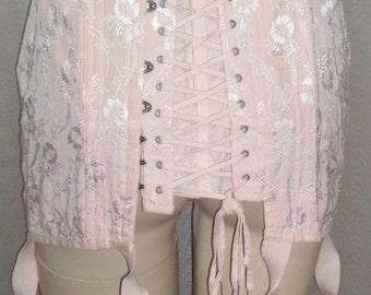 ON SALE Vintage Gossard Pink Corset Boning Lace Up Girdle Garters 27