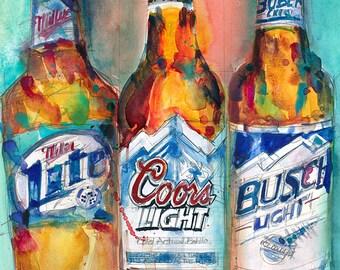 Miller Lite, Coors Light, Busch Light  -  (Print Size - 8.5 x11) or (Print Size - 11x14)