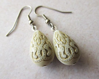 Ivory Etched Lucite Drop Earrings