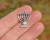 10 Silver  Menorah Charms SC3940