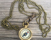 working Compass Necklace w bronze ball chain. antiqued brass hipster Dudes unisex jewelry