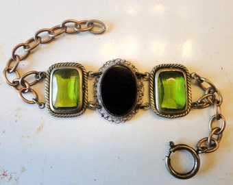 Mexican Onyx Sterling Bracelet green DECO glass panels Art Nouveau brass chain reclaimed materials Pretty wedding Bride Jewelry gift