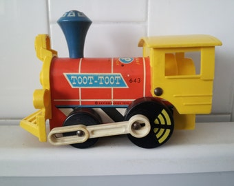 Vintage 1964 Fisher-Price Toot-Toot Train Engine #643 Pull Toy