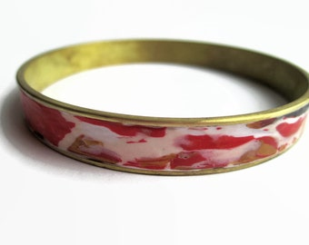 Bangle Bracelet, Cuff Bracelet, Brass Bracelet, Red and Gold Design