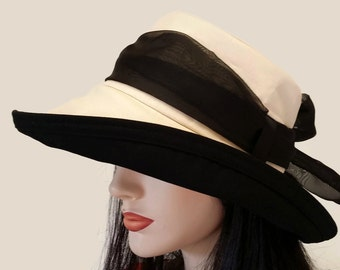 Scarlett Sun Hat in Natural Organic Cotton Duck with Wide Brim with long black removable scarf