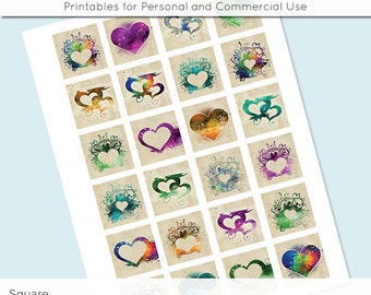 Hearts Valentine's Day 1x1 Inch Squares and 1.5 Inch Digital Collage Sheet for Glass Resin Pendants Charms JPG Q0025 S0025 1 Inch