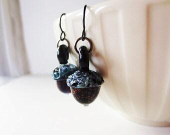 Acorn earrings. Lampwork acorn. Fall earrings. Brown nut earrings. Boro earrings. Glass acorn earrings. Acorn jewelry. Fall jewelry.