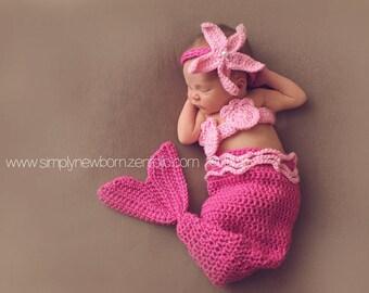 Pink Newborn Baby Mermaid Costume, 0 to 3 Month Crocheted Baby Girl Mermaid Photo Prop