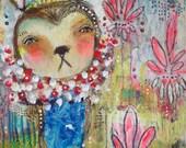 Mixed Media Painting - With Faith, Hold On - an Original Mixed Media Painting 11x14 by Juliette Crane