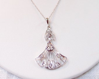 Art Deco 14k Gold and Diamond Pendant Necklace