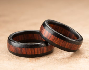 Custom Ebony Cocobolo Ring Set - 7mm