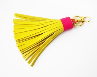 Leather Tassel Keychain Yellow Pink With Clasp Keyring Bag Charm Keychain Clip Gifts for Her