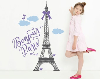 Paris Wall Decal Eiffel Tower Bonjour Paris Theme Travel Nursery Girls Bedroom Cute French Decor Room