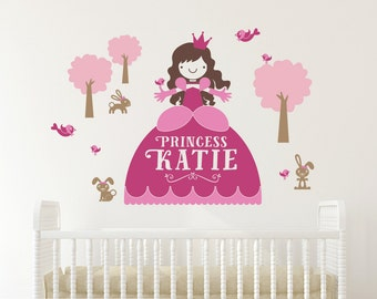 Princess Wall Decal with Name Cinderella Decor Fairy Tale Personalized Princess Room Nursery Appliqué