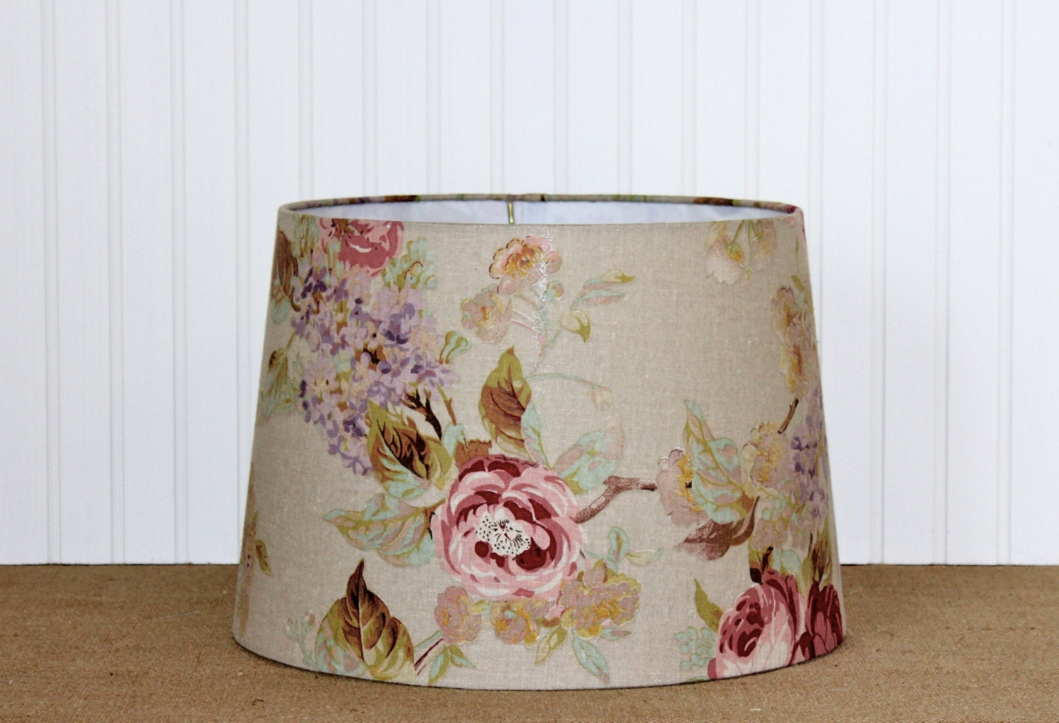 Flower Lamp Shade : Shabby chic lamp shade floral