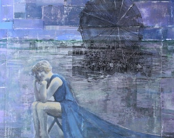 Siren, Color Photograph, 8 x 8, Beach, Ferris Wheel, Boardwalk, 1920, Seated Woman, Blue