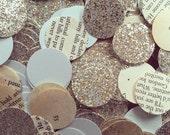 Mint, Glitter And Book page Circle Confetti. Wedding Confetti, Toss Confetti