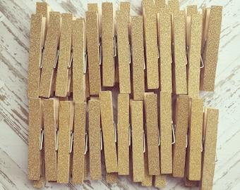 2  Dozen Gold Glitter Clothespins