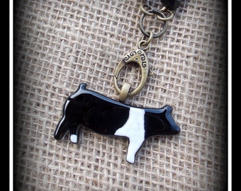Glass Hampshire Show Hog Pig  on Long Boho Style leather &  Glass  Bead Chain, Necklace approx 24""