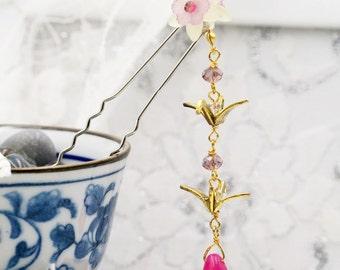 Cherry crane hair fork (HF)