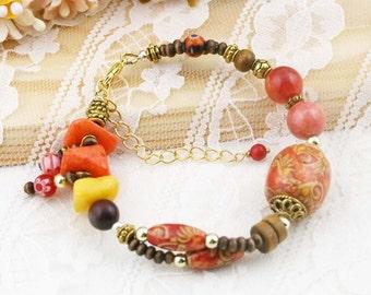 Oriental harmony boho bracelet (BB) - quartzite and jasper