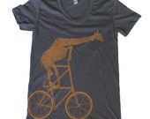 Womens GIRAFFE tall BIKE T Shirt S M L Xl (Asphalt Gray)