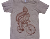 Squirrel Art Bicycle Print Animal Artwork Short Sleeved American Apparel Organic Sustainable Clothing