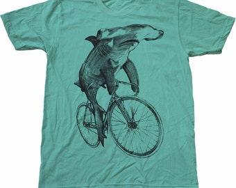 UNISEX Hammerhead SHARK on a BICYCLE - Mint Green - American Apparel Mens T Shirt