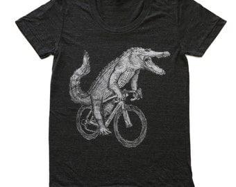 womens ALLIGATOR  T Shirt american apparel xs s m l xl and xxl (Tri Black)
