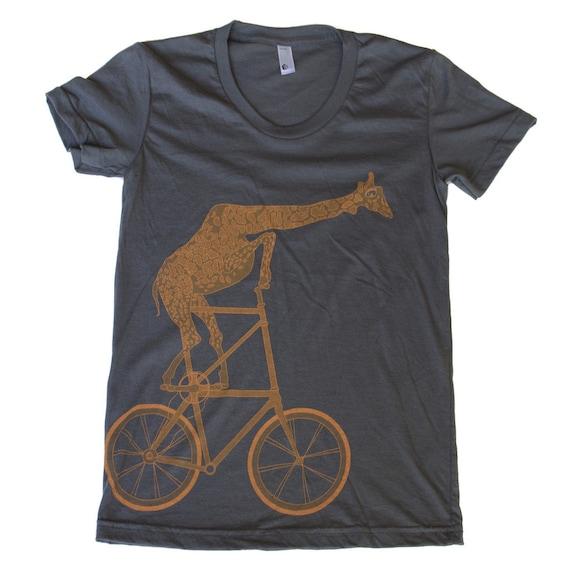 Womens GIRAFFE tall BIKE T Shirt S M L Xl (Asphalt Gray)