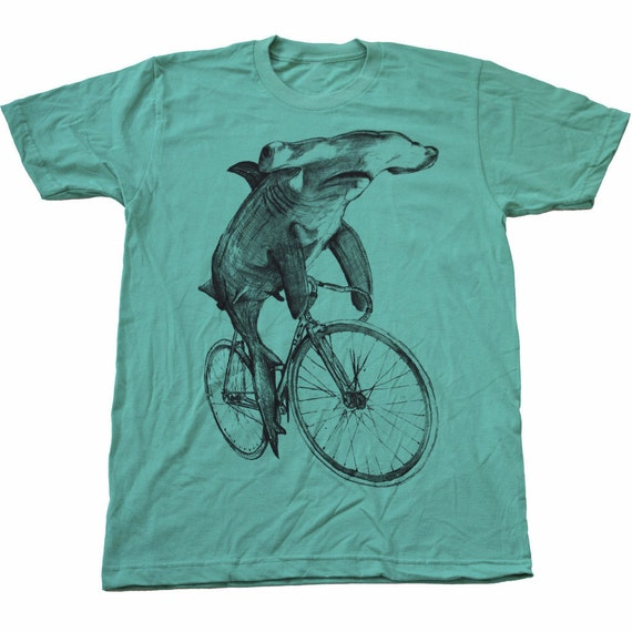 UNISEX Hammerhead SHARK on a BICYCLE - Mint Green - American Apparel Mens T Shirt