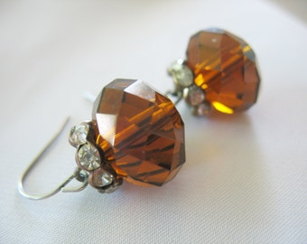 Dangle Earrings Large Amber Glass and Rhinestone Rondelles on Pierced Wires