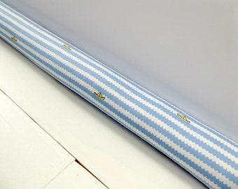 Blue Draft Stopper - Nursery Decor - Blue Door Snake - Kids Room Decor - Paper Boat Pattern. 177